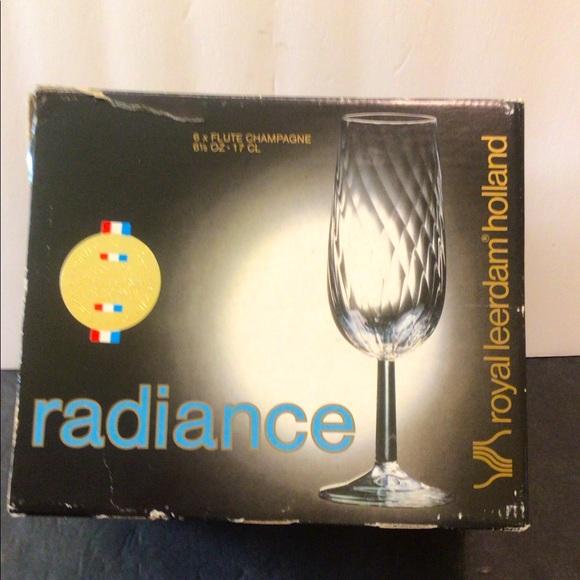 (6) Vintage NOS Royal Leerdam Holland Blown Glass Champagne flute set